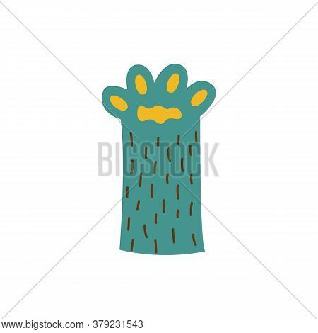 Green Animal Paw With Soft Pads Icon Flat Cartoon Vector Illustration Isolated.