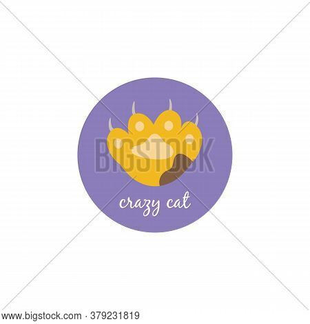 Crazy Cat Circle Sticker With Yellow Cat Paw With Brown Spot Showing Sharp Claws