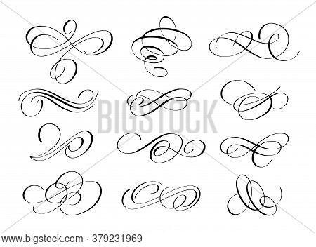 Vector Grunge Flourishes Ink Pen Calligraphy Set