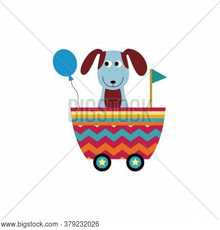 Cute Puppy In Toy Wagon Or Railroad Cart, Flat Vector Illustration Isolated.