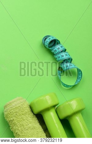 Sports And Healthy Regime Equipment. Athletics And Weight Loss Concept