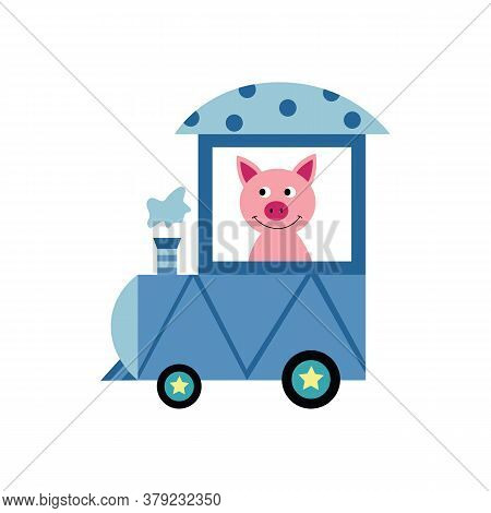 Piglet Or Pig Driving Train Locomotive, Flat Vector Illustration Isolated.