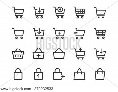 Shopping Cart Line Icon. Minimal Vector Illustration. Included Simple Outline Icons As Trolley, Supe