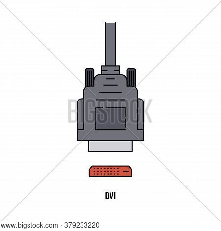 Dvi Or Digital Visual Interface Port Icon, Cartoon Vector Illustration Isolated.