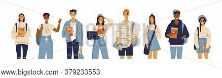 International Group Of Students With Laptop, Books, Backpacks. Fashionable College Youth. A Group Of