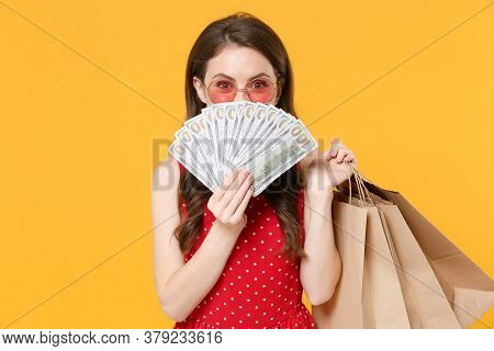 Funny Woman Girl In Red Summer Dress, Eyeglasses Isolated On Yellow Background. People Lifestyle Con