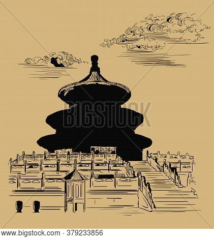 Vector Illustration.temple Of Heaven In Beijing, Landmark Of China. Hand Drawn Vector Sketch Illustr