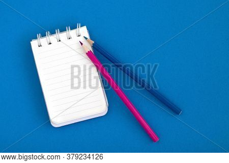 Empty Open Notepad, Business Template Layout For Adding Your Design. Top View Of A Spiral Notepad An