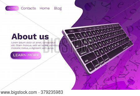 Keyboard Computer Web Banner, Concept Tech Technology Input. Vector