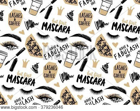 Makeup Artist Background. Seamless Pattern With Mascara, Eyeshadow, Eyes, Brows And Long Black Lashe