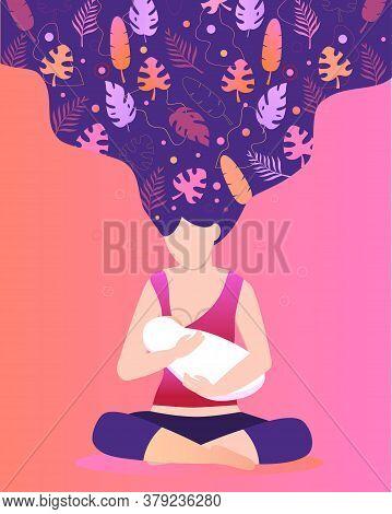 World Breastfeeding Week In August For Flyer, Banner, Landing Page. Beautiful Mom Is Breastfeeding H