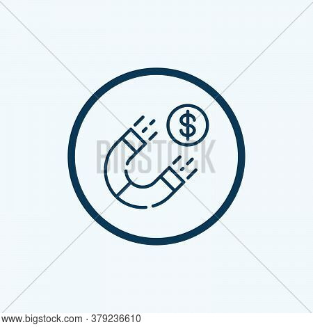 Magnet Money Attract Icon. Outline Magnet Money Attract Vector Icon For Web Design Isolated On White