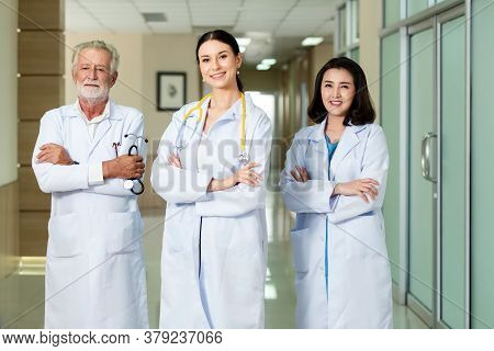 Healthcare People Teamwork.  Group Medicine Doctor  With Stethoscope In Hands.  Doctor Staff And Med