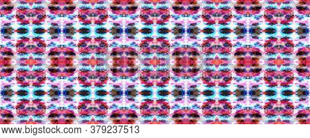 Kimono Tile. Shibori Seamless Pattern. Red, White And Blue Organic Minimal Textile. Batik Tie Dye Bo
