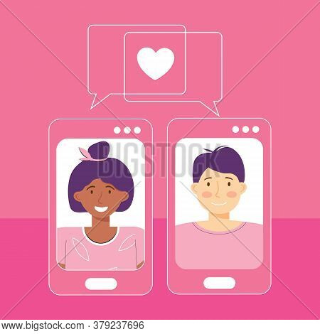 Online Dating Platform Service Application. Modern Young People Looking For A Couple. Video Chat Via