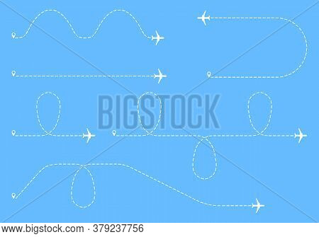 Airplane Flight Lines. Airplane Route. Airlines. Vector, Cartoon Illustration.