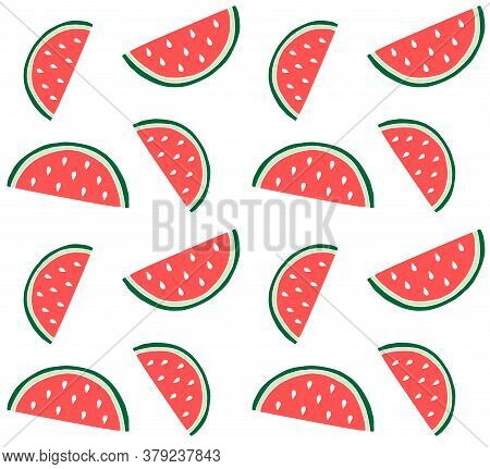 Vector Seamless Pattern Of Colored Hand Drawn Doodle Sketch Watermelon Slice Isolated On White Backg