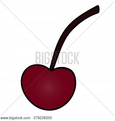 Juicy Cherries. Ripe Berry. Colorful Vector Illustration. Isolated White Background. Cartoon Style.