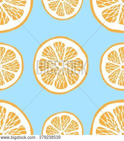 Vector Seamless Pattern Of Hand Drawn Doodle Sketch Orange Slices Isolated On Blue Background