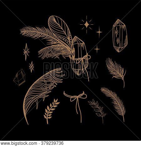 Esoteric Mystical Vector Elements. Thin Line Geometric Badge. Mystic And Magic Design With Crystals