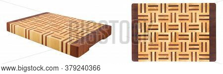 Wooden Butcher Chopping Block Of Various Foreshortenings Isolated Over White Background. Empty Cutti