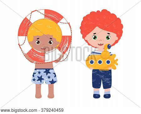 Boys With Happy Faces Play On The Beach. Red Hair Kid In A Sailor Suit With Submarine. Blond Little