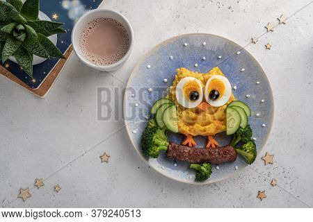 Funny Owl Mashed Potato Carrot Vegetable Puree With Sausage For Kids Lunch