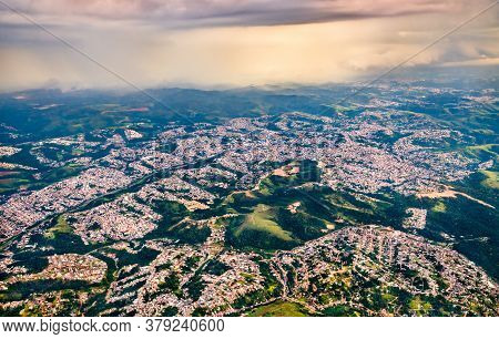Aerial View Of Suburbs Of Sao Paulo In Brazil