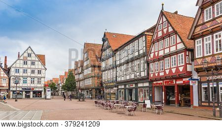 Celle, Germany - July 05, 2020: Panorama Of The Central Market Square Of Celle, Germany