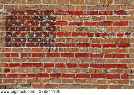 Old Brick Wall American Flag Painted Overlay Stars And Stripes 2020 Usa American Election Graphic Wi