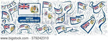 Vector Set Of The National Flag Of British Antarctic Territory