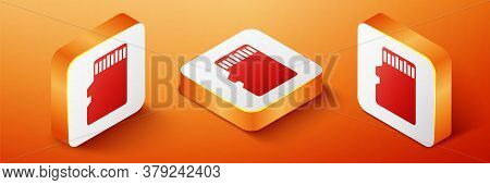 Isometric Micro Sd Memory Card Icon Isolated On Orange Background. Orange Square Button. Vector