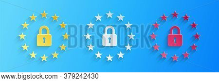 Paper Cut Gdpr - General Data Protection Regulation Icon Isolated On Blue Background. European Union