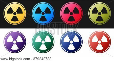 Set Radioactive Icon Isolated On Black And White Background. Radioactive Toxic Symbol. Radiation Haz
