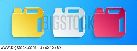 Paper Cut Plastic Canister For Motor Machine Oil Icon Isolated On Blue Background. Oil Gallon. Oil C