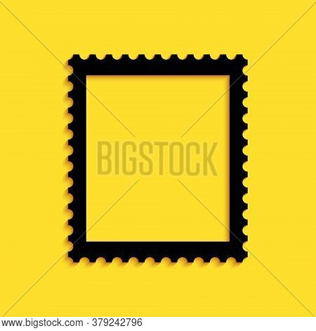 Black Postal Stamp Icon Isolated On Yellow Background. Long Shadow Style. Vector