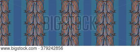 Vector Border With Ornamental Linocut Style Leaves And Stripes. Elegant Cobalt Blue Banner Over Vert