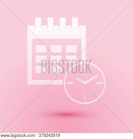 Paper Cut Calendar And Clock Icon Isolated On Pink Background. Schedule, Appointment, Organizer, Tim