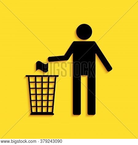 Black Man Throwing Trash Into Dust Bin Icon Isolated On Yellow Background. Recycle Symbol. Long Shad