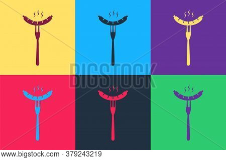 Pop Art Sausage On The Fork With Steam Icon Isolated On Color Background. Grilled Sausage And Aroma