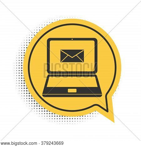 Black Laptop With Envelope And Open Email On Screen Icon Isolated On White Background. Email Marketi