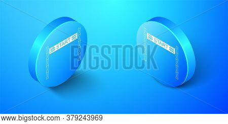 Isometric Starting Line Icon Isolated On Blue Background. Start Symbol. Blue Circle Button. Vector