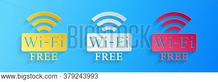 Paper Cut Free Wi-fi Icon Isolated On Blue Background. Wi-fi Symbol. Wireless Network Icon. Wi-fi Zo