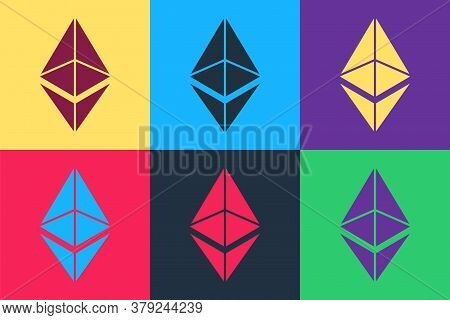 Pop Art Cryptocurrency Coin Ethereum Eth Icon Isolated On Color Background. Digital Currency. Altcoi