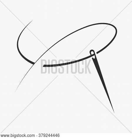 Needle With Thread Isolated On Gray Background. Vector Illustration Tailor Logo.