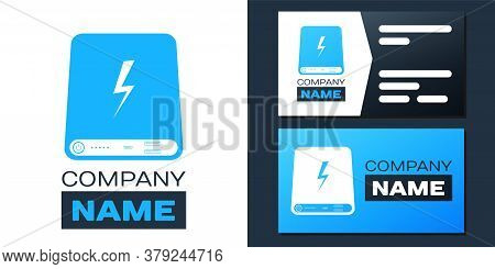 Logotype Power Bank Icon Isolated On White Background. Portable Charging Device. Logo Design Templat