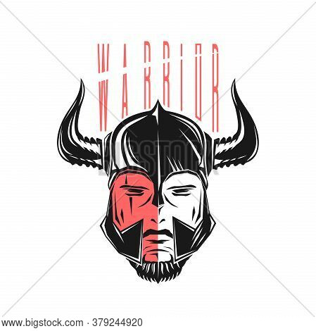 Warrior In A Helmet With Horns. Black And Red Logo Concept Design. Warrior - Stylized Inscription. V