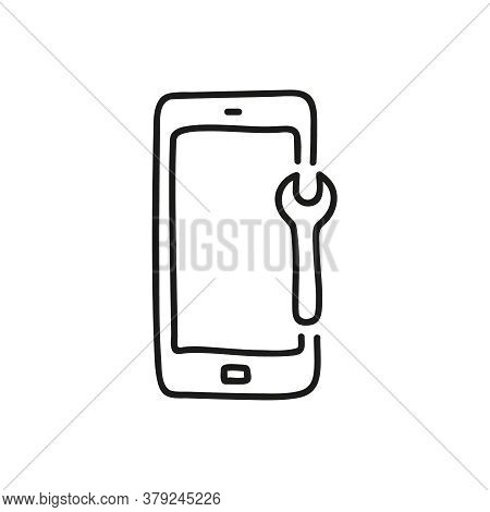 Fix Mobile Phones Doodle Icon. Vector Isolated Illustration Of Smart Phone.