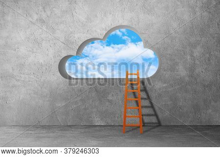 Digital Cloud Computing Concept : Ladder Lean On Concrete Wall And Leading To Hole In Cloud Shape On