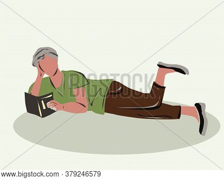 The Guy Is Reading A Book. Human Figure For Use In Thematic Paintings. Isolated Image. Part Of The S